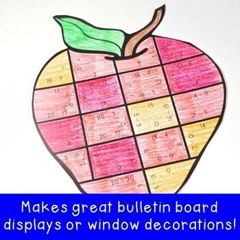 Back to School Math Centers: Subtraction Apple Puzzles