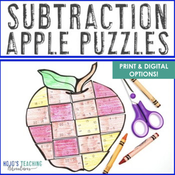 SUBTRACTION Math Apple Centers | Apple Theme Classroom | Back to School