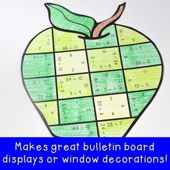 DIVISION Math Apple Centers   FUN Back to School Math Activity Puzzle Game