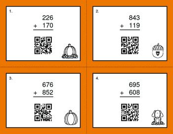 Fall Math: 3-Digit Addition QR Code Task Cards