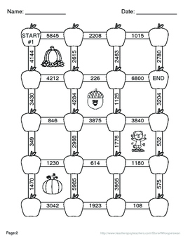 Fall Math: 3-Digit By 1-Digit Multiplication Maze