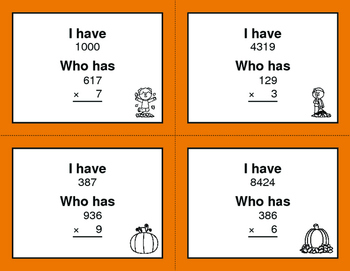 Fall Math: 3-Digit and 1-Digit Multiplication - I Have, Who Has