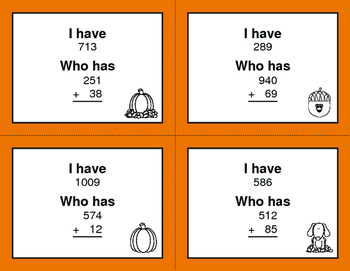 Fall Math: 3-Digit and 2-Digit Addition - I Have, Who Has