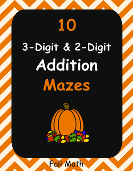 Fall Math: 3-Digit and 2-Digit Addition Maze