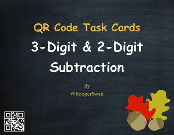 Fall Math: 3-Digit and 2-Digit Subtraction QR Code Task Cards