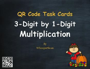 Fall Math: 3-Digit by 1-Digit Multiplication QR Code Task Cards