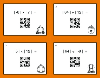 Fall Math: Absolute Value - Multiplication & Division QR Code Task Cards