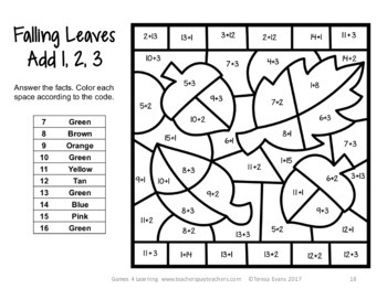 Fall Color by Number Addition Games