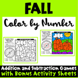 Color by Number Fall: Color by Number Math Games: Bonus Fall Worksheets