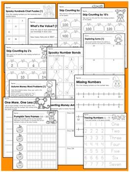 {Grades 1 - 2} Fall Math Activity Pack