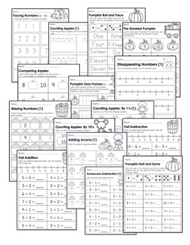 {Kindergarten} Fall Math Activity Pack