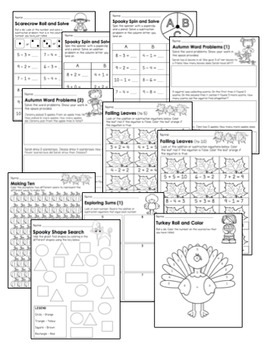 {Kindergarten} Fall Math Activity Pack