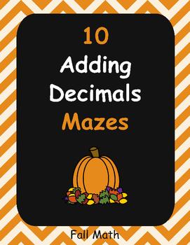 Fall Math: Adding Decimals Maze