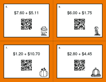Fall Math: Adding Money QR Code Task Cards