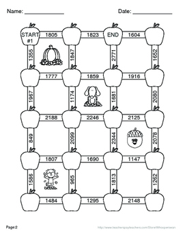 Fall Math: Adding Three 3-Digit Addition Maze