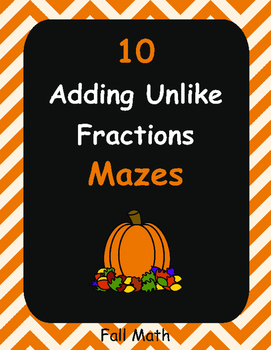 Fall Math: Adding Unlike Fractions Maze