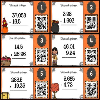 Fall Math Adding and Subtracting Decimals with QR Codes