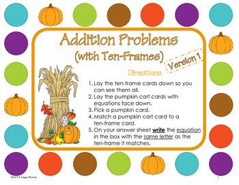 Fall Math Addition (using ten-frames) Centers and Task Cards - First Grade