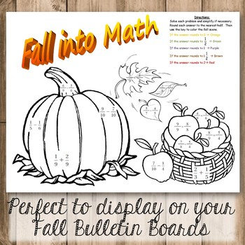 Fall Math Art Coloring Activity - Adding and Subtracting Fractions