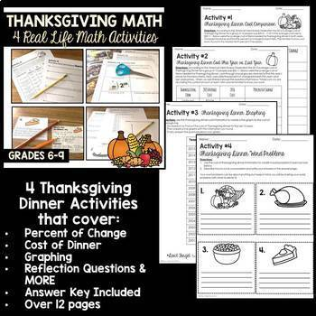 Fall Middle School Math Activities Bundle Grades 6 to 8