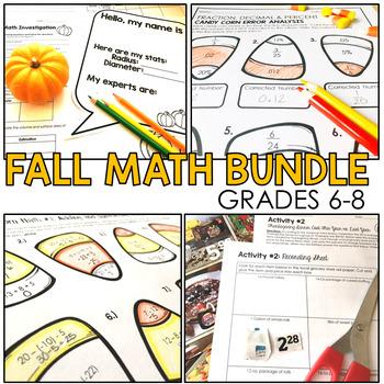 Fall Math Bundle Grades 6 to 8