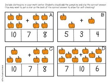 Fall Math Center Activities -- Tally Marks, Base Ten Blocks, Addition