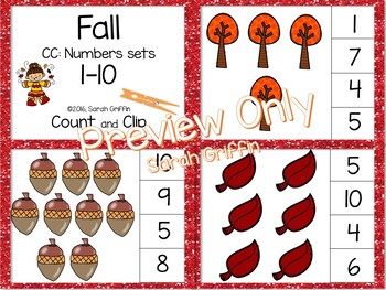 Fall Math Center ~ Clip Cards - Numbers to 10