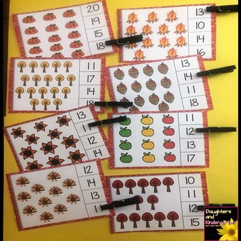 Fall Math Center ~ Clip Cards - Numbers to 20