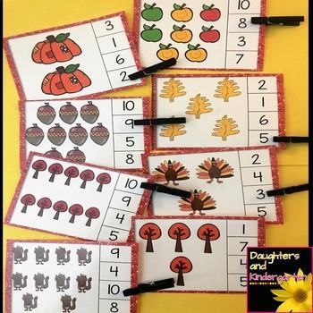 Fall Math Center ~ Clip Cards - Tens Frames