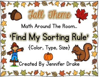 Fall Math Center 'Find My Sorting Rule' Sorting for Color, Type and Size