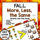 Fall Math Center; More, Less, the Same Comparing Quantities!