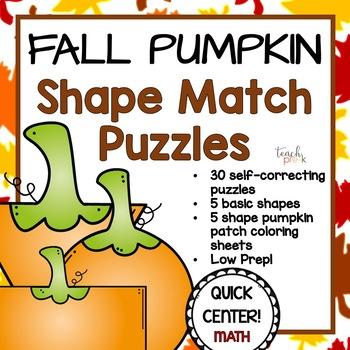 Fall Math Center; Shape Puzzles & Coloring for Preschool, PreK, K, & Homeschool