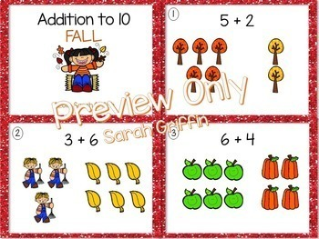 Addition to 10 ~ Fall Math Center ~ SCOOT Task Cards