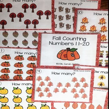 Numbers to 20 ~ Teens ~ Fall Math Center ~ Task Cards