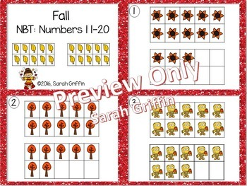 Tens Frames - Numbers to 20 ~ Fall Math Center ~ Task Cards
