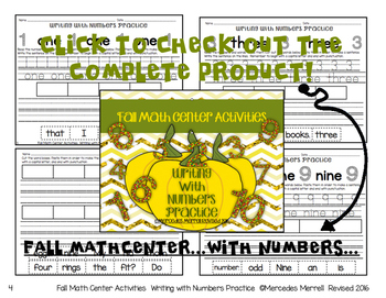 SAMPLE Fall Math Center Writing With Numbers Practice