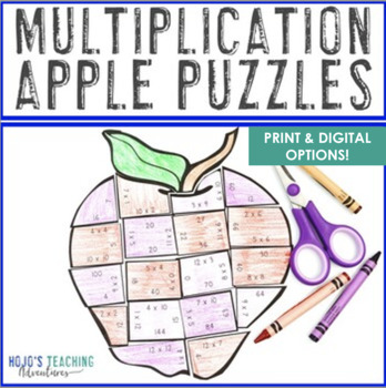 Back to School Math Centers: Multiplication Apple Puzzles