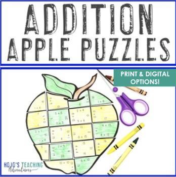 Apple Math Activities | ADDITION Apple Puzzles | FUN Math Activities
