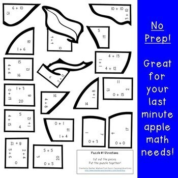 ADDITION Apple Math Puzzles | Back to School Math Centers or Review