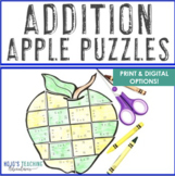 ADDITION Apple Math Worksheet Alternatives | Fall Activities, Games, or Review