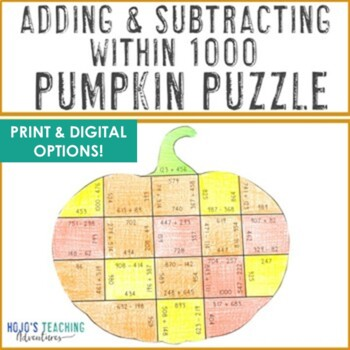 Adding and Subtracting within 1000 Pumpkin Puzzle | Fall Math Game