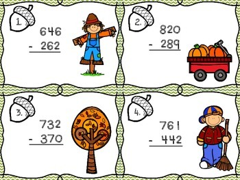 Fall Math Centers Bundle Pack- Addition/Subtraction w/ Regrouping & Place Value