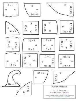 DIVISION Pumpkin Puzzles | Fall Math Worksheet Alternatives or Games