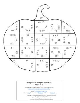 MULTIPLICATION Pumpkin Puzzles   Fall Math Centers or Worksheet Alternatives