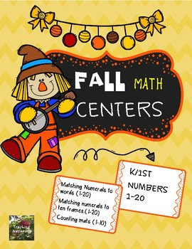 Fall Math Centers Kindergarten (Numbers 1-20)