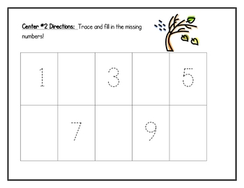 Fall Math Centers: Numbers 1 to 10