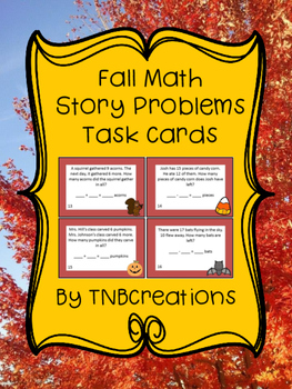Fall Math Story Problems Task Cards