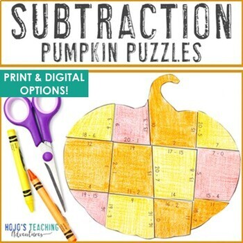 September Math | Fall Math Activities | Subtraction Pumpkin Puzzles