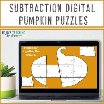 SUBTRACTION Pumpkin Puzzles: Fall Math Worksheet Alternatives, Games, or Centers