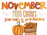 November Math Centers and Printables First Grade